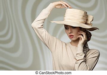 mujer, encantador, sombrero