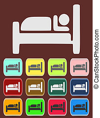 Icon, Button, Pictogram with Hotel, Lodging symbol