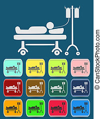 Illustration of Life icons, hospitalized with serum, vector