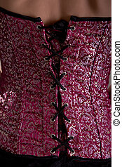 Back view of purple corset with floral pattern