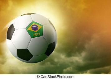 3d soccer ball with Brazil flag on sky background
