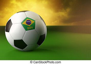 3d soccer ball with Brazil flag on green grass