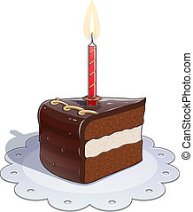 Piece of chocolate cake with candle