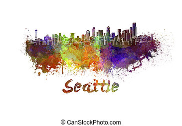 Seattle skyline in watercolor splatters with clipping path