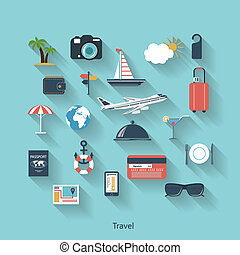 Travel and tourism modern concept in flat design with long...