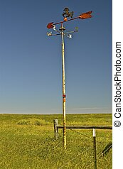 Wind vane on the paraire - A horse theme wind vane stand...