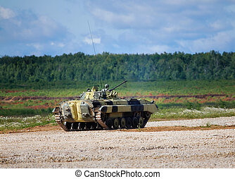 Infantry combat vehicle on a boundary fire opening