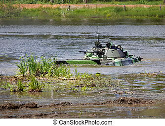 Infantry combat vehicle in water - Infantry combat vehicle...