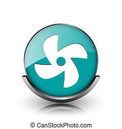 Fan icon Metallic internet button on white background