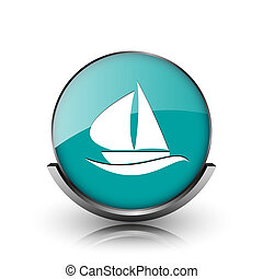 Sailboat icon Metallic internet button on white background...
