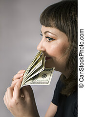 Money has no smell - Portrait of young woman and note of...