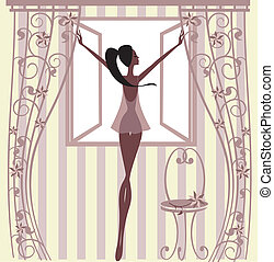 Girl standing at the windowIllustration