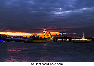 View of the Peter and Paul Fortress with the illumination of the