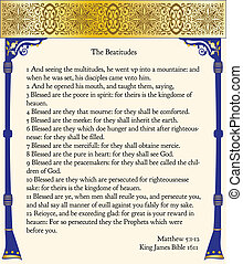The Beatitudes from the King James Bible, 1611, the original...
