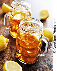 southern sweet tea in a rustic jar