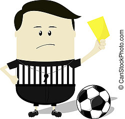 soccer referee showing yellow card - cartoon illustration of...