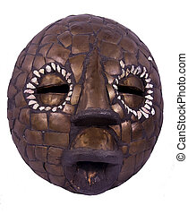 African ritual mask from Nigeria - Round african mask from...