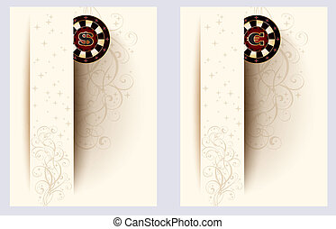 Two casino banners with poker chip, vector