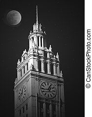 Moonlight - Old city tower illuminated by the moon