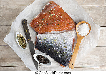 Smoked salmon - Smoked marinated salmon and ingredients on...