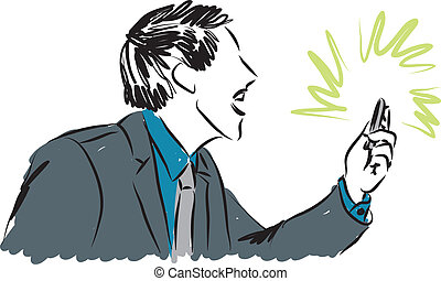 business yelling at a smartphone illustration