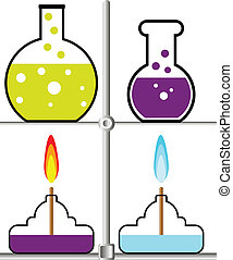 Laboratory burner and flask on white background Vector...