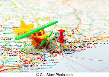 Nice , France map aiport - Red push pin pointing at Nice ,...
