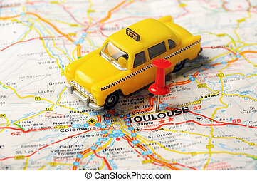 Toulouse, France map - Red push pin pointing at Toulouse,...
