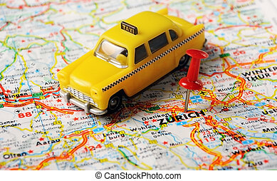 Zurich,Swiss map - Red push pin pointing at Zurich,Swiss map...
