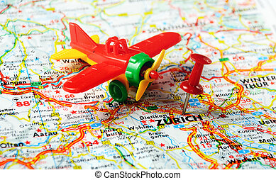 Zurich ,Swiss map - Red push pin pointing at Zurich ,Swiss...