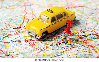 Basel ,Swiss map taxi - Red push pin pointing at Basel,Swiss...