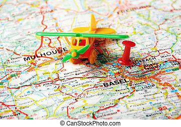 Basel,Swiss map - Red push pin pointing at Basel,Swiss map...