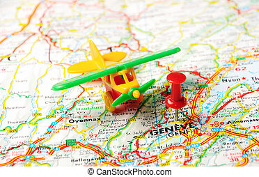 Geneve,Swiss map - Red push pin pointing at Geneve,Swiss map...