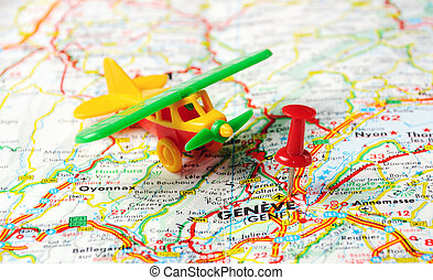 Geneve,Swiss map airplan - Red push pin pointing at...