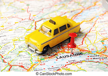 Lausanne,Swiss map - Red push pin pointing at Lausanne,Swiss...