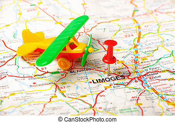 Limoges , France map airport - Red push pin pointing at...