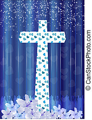 Christian cross and lily flower on blue background