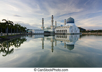 Beautiful Kota Kinabalu city mosque at sunrise in Sabah,...