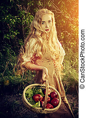 red apples - Beautiful young woman with magnificent blonde...