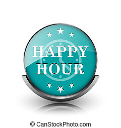 Happy hour icon. Metallic internet button on white...