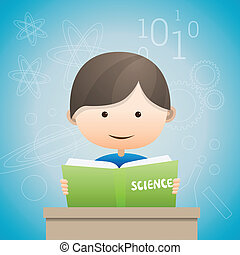 Kid Reading - Vector illustration of a boy reading a book