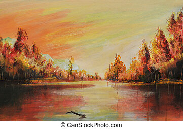 Oil landscape - Romantic sunsets on river, this is oil...