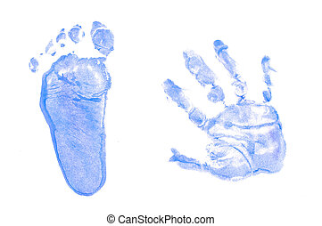 Blue footprint and handprint isolated in white