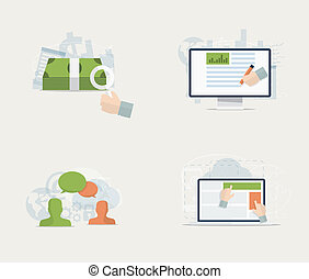 Flat web advertisement and social media vector concepts set