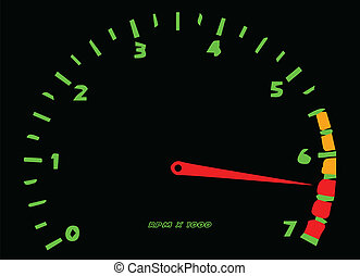 RPM - A cartoon style rev meter isolated on white