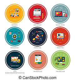 Icons for web design, seo, social media and pay per click...