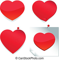 Heart stickers and post it notes - A cute set of red heart...