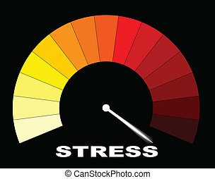 In The Red - A yellow to red stress gauge on a black...
