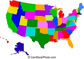 usa map - colorful map of usa