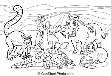 african animals cartoon coloring page - Black and White...